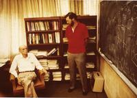 Paul Dirac in office with last graduate student, Bruce Hellman