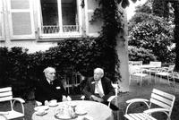 "Paul Dirac at table with Petr Kapitza at hotel ""Bad Schochen"""