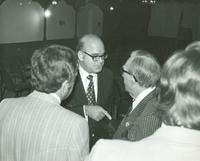 Claude Pepper speaking with a man at the Pan American Hospital