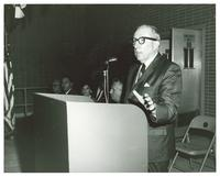 Claude Pepper addressing group at the dedication of the Gratigny Branch Post Office