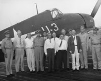Aboard U.S.S. Wright, Dr. Campbell 7th from left