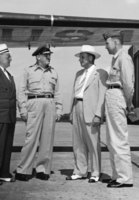 Arrival at robbins field, GA.-inspection A.F.R.O.T.C. summer training school-Doak Campbell, Gen. Thomas, Chas. Davies, Col