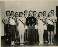 Hartley Price and FSU Men's Gymnastics Team Posing for Photograph at the Georgia AAU Invitational
