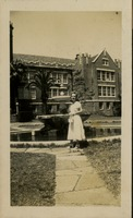 Student In Front of Westcott Building and Westcott Fountain