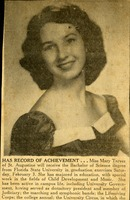 Announcement in Newspaper of Mary Tarver's Graduation