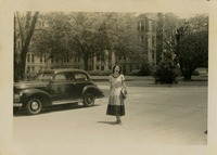 Mary Tarver In Front of Gilchrist Hall
