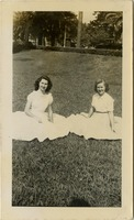 Mary Tarver and faye Johns on the Grass In Front of Bryan Hall