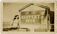 Mary Tarver Next to Ruppert Beer Sign