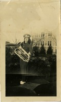 Mary Tarver in Uniform Holding Her Euphonium