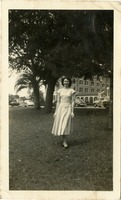 Mary Tarver Standing on Campus with Landis Hall in the Background