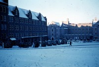 Jennie Murphree and Cawthon Halls in the Snow
