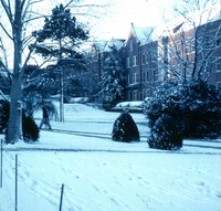 Jennie Murphree and Reynolds Halls in the Snow