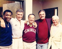 Burt Reynolds, Ricardo Montalban, Don Fauls and Bobby Bowden with an Unidentified Man