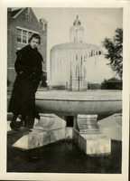 Unidentified Woman at Frozen Administration Fountain
