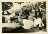 Marion Stine and Olga M. Kent Dressed in Costume at Administration Fountain