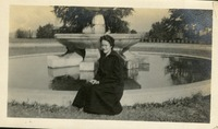 Marion Stine Posing beside Administration Fountain