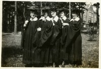 Alice D, Marion Stine, Olga M. Kent, Alice Mosier, and Clara Opsahl in Caps and Gowns