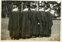 Alice D, Marion Stine, Olga M. Kent, Alice Mosier, and Clara Opsahl Showing Backs of Graduation Gowns