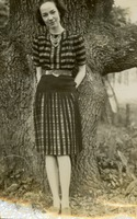 Florence Gregory in Front of a Large Tree