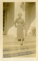 Florence Gregory Posing on Steps