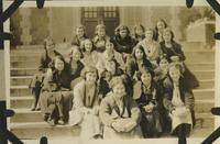 Group of Nineteen Women Sitting on Steps