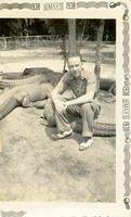 Man Sitting with Alligators