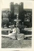 Marjorie Fogarty and Janie Mattison in Front of Westcott Fountain.