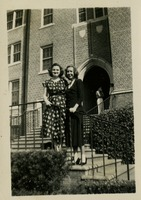 Betty Jane Mattison and Edna Croezinger in Front of the Student Alumni Building