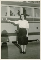 Sara Culbreth Cooper Next to an FSU Bus