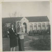 Students Standing In Front of Johnston Building
