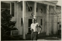 "Tanner Standing In Front of the ""O"" Club on West Campus"