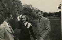 Three Students In Front of Dormitories