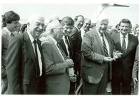 Claude Pepper standing with several men at the Claude and Mildred Pepper Library dedication