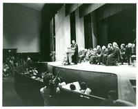 Claude Pepper on stage with others at the Pepper Library Dedication