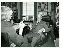 Unidentified woman interviewing Claude Pepper in his House office