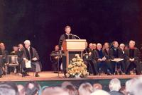 Governor Bob Graham speaking at the dedication of the Mildred and Claude Pepper Library