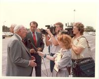 Claude Pepper talking to the press at the dedication of the Mildred and Claude Pepper Library