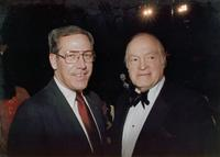 Bob Hope posing with a guest at Claude Pepper's 84th birthday party