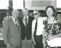 Claude Pepper posing with guests at the dedication of the Mildred and Claude Pepper Library