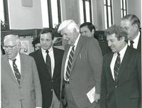 Claude Pepper with Tip O'Neill and others at the dedication of the Mildred and Claude Pepper Library