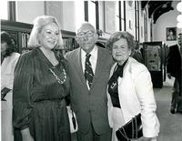 Claude Pepper posing with two women at the dedication of the Mildred and Claude Pepper Library