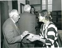 Claude Pepper talking to a guest at the dedication of the Mildred and Claude Pepper Library