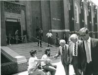 Claude Pepper shaking hands with students at the dedication of the Mildred and Claude Pepper Library