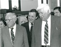 Claude Pepper and Tip O'Neill attending the dedication of the Mildred and Claude Pepper Library