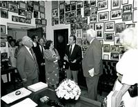 Claude Pepper and others standing in the replica of Pepper's Congressional Office