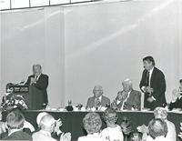 Bernard Sliger speaking at a luncheon for Claude Pepper with Don Fuqua and Tip O'Neill