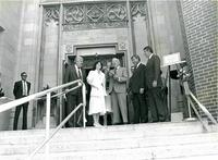 Claude Pepper receiving a plaque at the dedication of the Mildred and Claude Pepper Library
