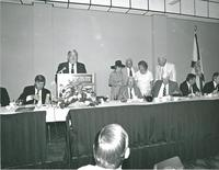 FSU President Bernard Sliger speaking at a luncheon for Claude Pepper