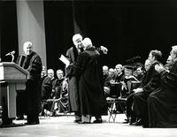 Claude Pepper hugging Tip O'Neill at an Honorary Degree ceremony for Pepper