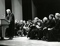 Tip O'Neill speaking at an Honorary Degree ceremony for Claude Pepper
